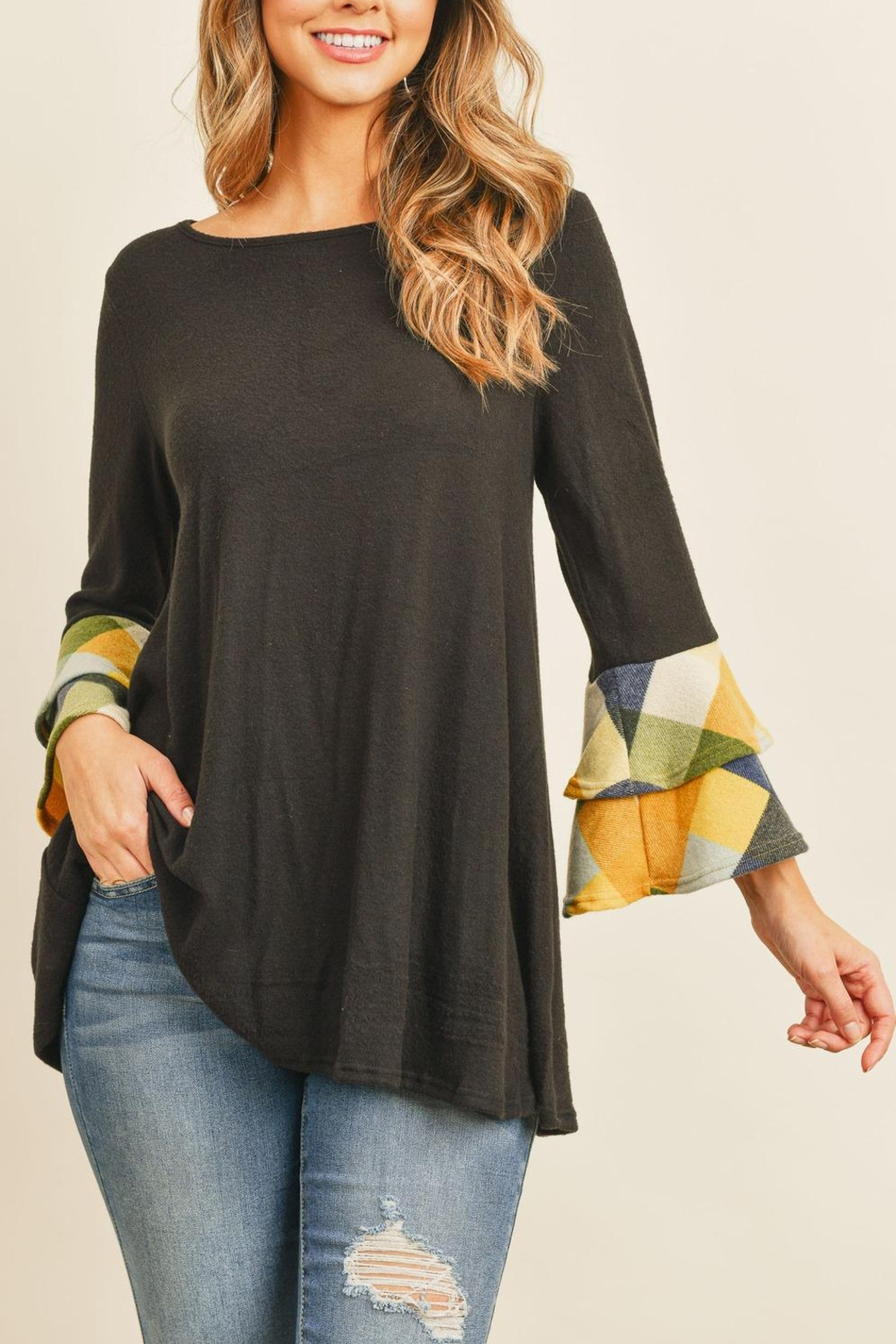 Riah Fashion Plaid-Layered-Bell-Sleeve-Boat-Neck-Solid-Top - Main Image