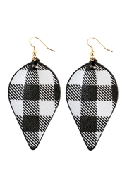 Riah Fashion Plaid Pinched Leather Earrings - Product Mini Image