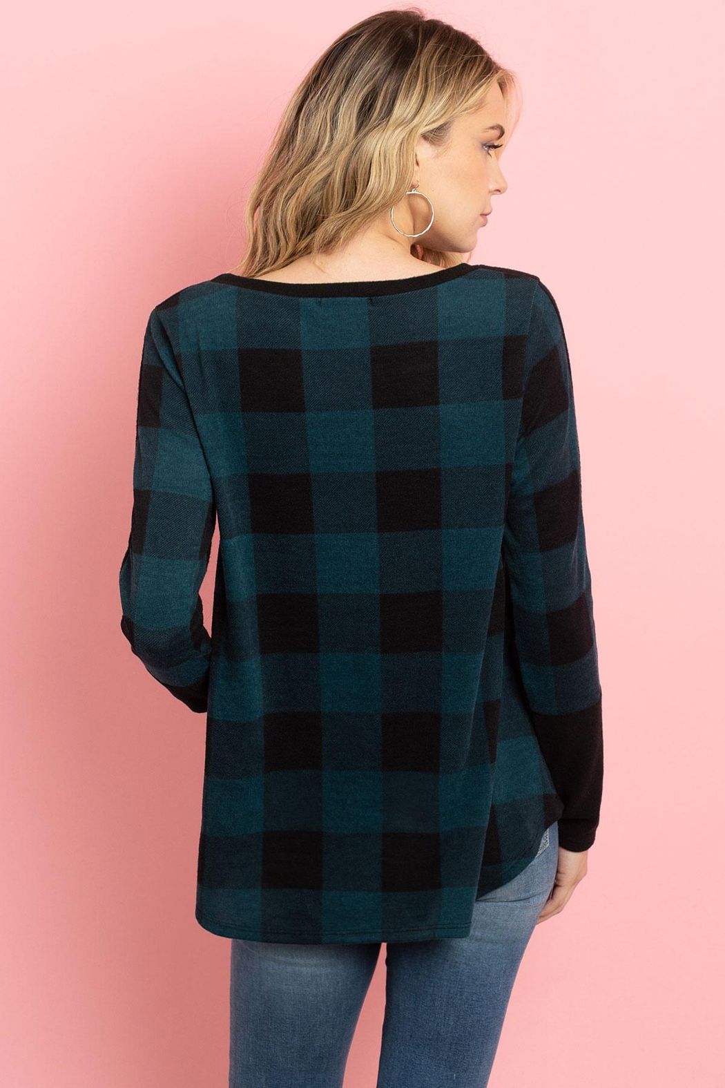 Riah Fashion Plaid-Pocket-And-Back-Contrast-Solid-Top - Side Cropped Image