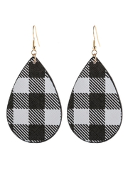 Riah Fashion Plaid Printed-Teardrop Leather-Earrings - Product Mini Image