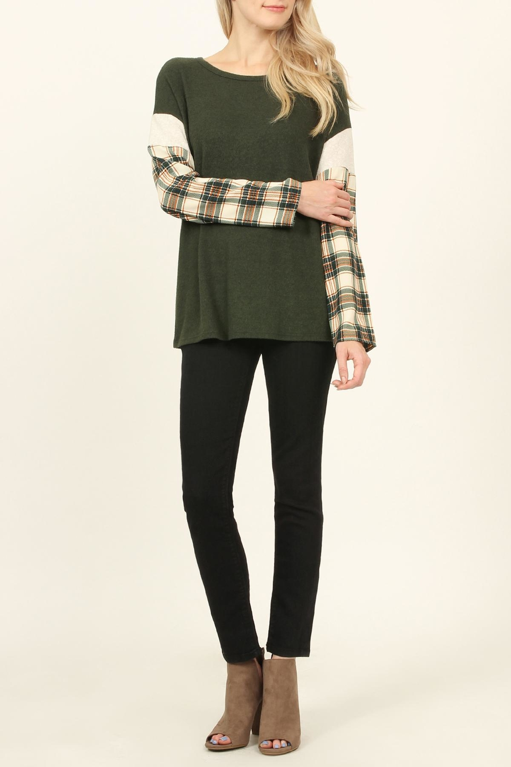 Riah Fashion Plaid-Sleeve Dropped Shoulder-Sweater - Front Cropped Image