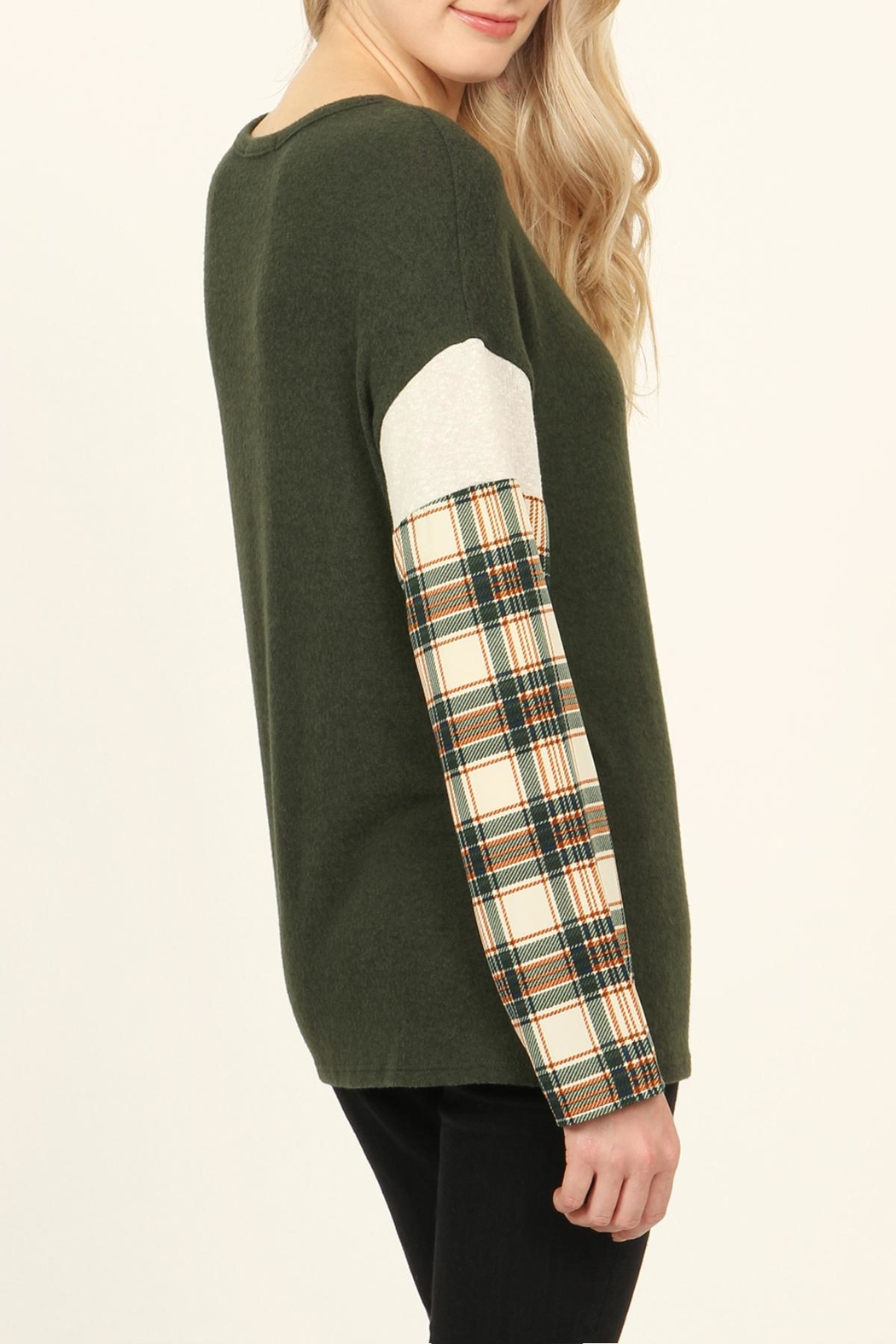 Riah Fashion Plaid-Sleeve Dropped Shoulder-Sweater - Side Cropped Image