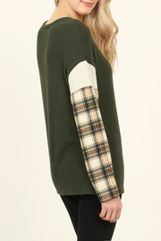 Riah Fashion Plaid-Sleeve Dropped Shoulder-Sweater - Side cropped