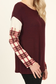 Riah Fashion Plaid-Sleeve Dropped Shoulder-Sweater - Back cropped