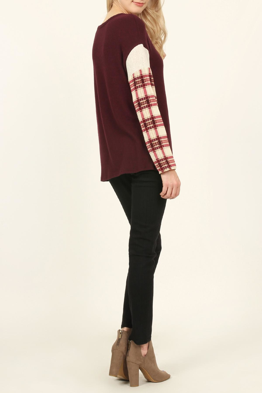 Riah Fashion Plaid-Sleeve Dropped Shoulder-Sweater - Front Full Image