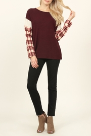 Riah Fashion Plaid-Sleeve Dropped Shoulder-Sweater - Front cropped