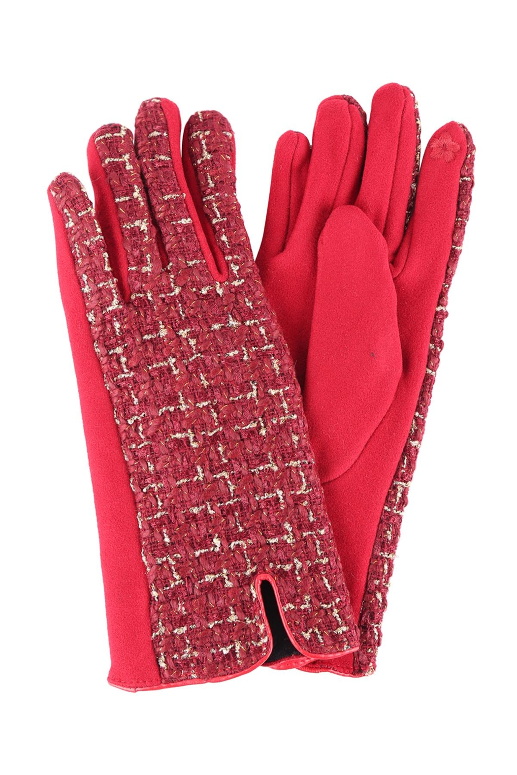 Riah Fashion Plaid-Smart-Touch-Gloves - Front Cropped Image