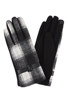 Riah Fashion Plaid-Smart-Touch-Gloves-W/-Leather-Strap - Product List Image