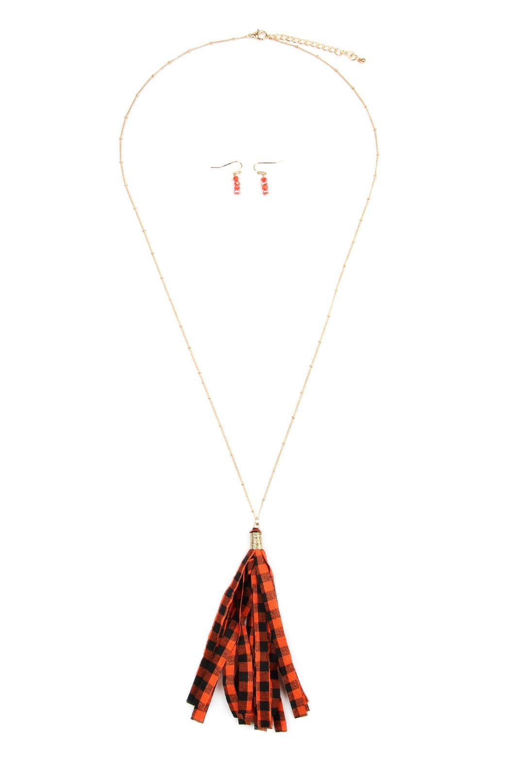 Riah Fashion Plaid-Tassel Necklace-And-Earring-Set - Front Cropped Image