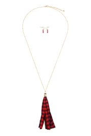 Riah Fashion Plaid-Tassel Necklace-And-Earring-Set - Front cropped