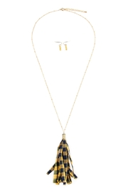 Riah Fashion Plaid-Tassel Necklace-And-Earring-Set - Product Mini Image