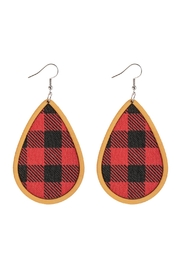 Riah Fashion Plaid Wood Frame Teardrop Earrings - Product Mini Image