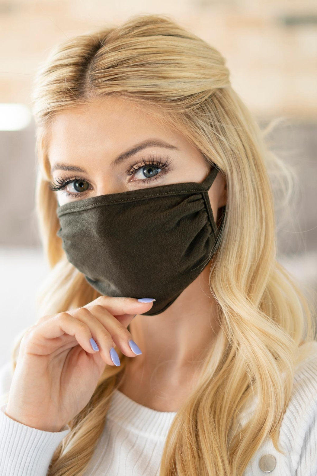 Riah Fashion Plain Reusable Face Mask For Adults - Front Cropped Image
