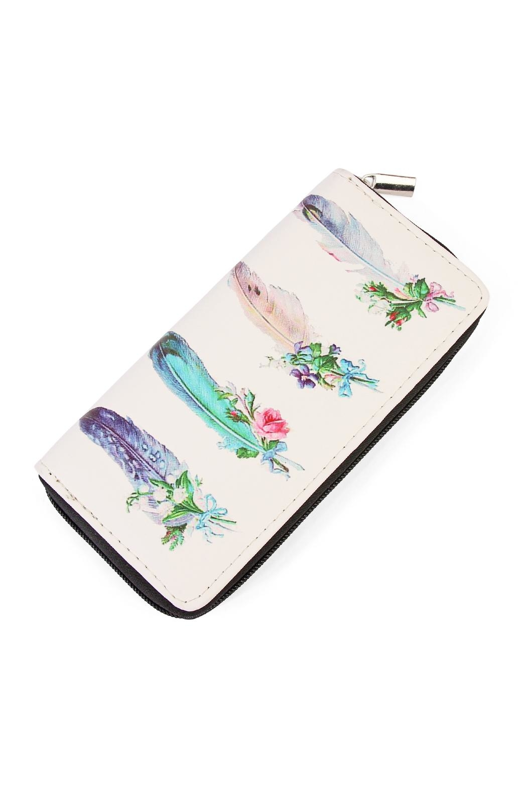 Riah Fashion Pluma Print Zipper Wallet - Main Image