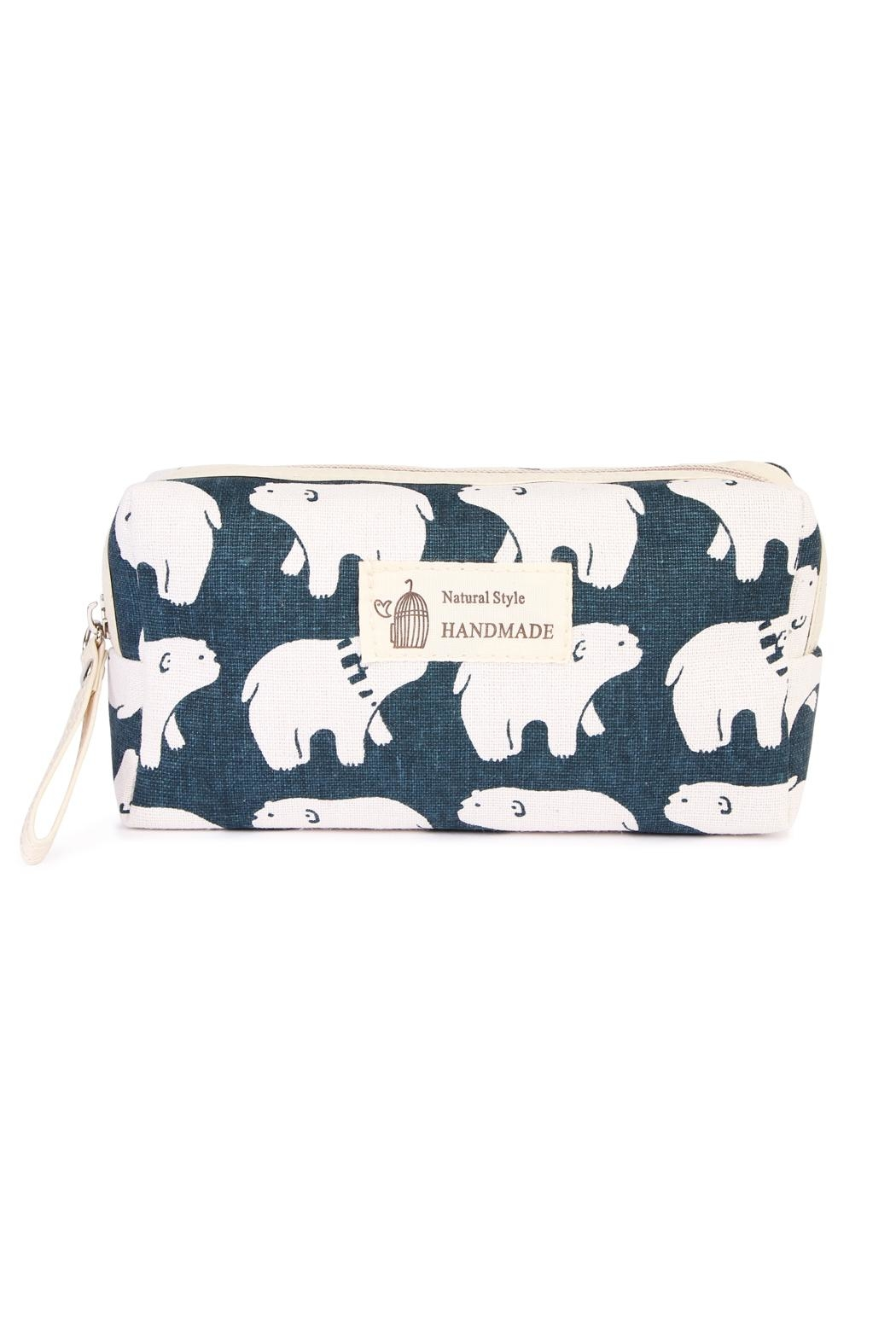 Riah Fashion Polar Bear Cosmetic Pouch - Front Cropped Image