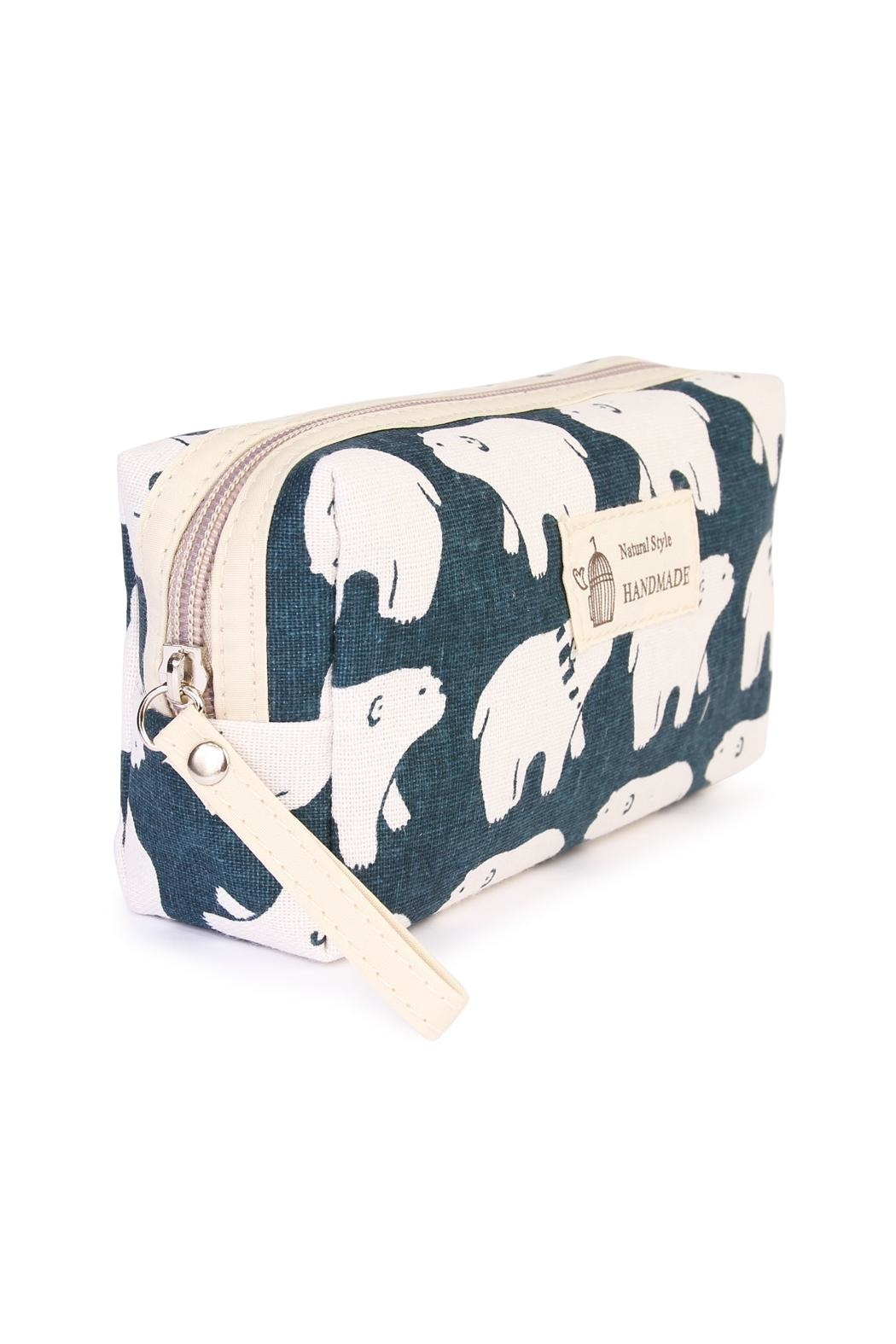 Riah Fashion Polar Bear Cosmetic Pouch - Front Full Image