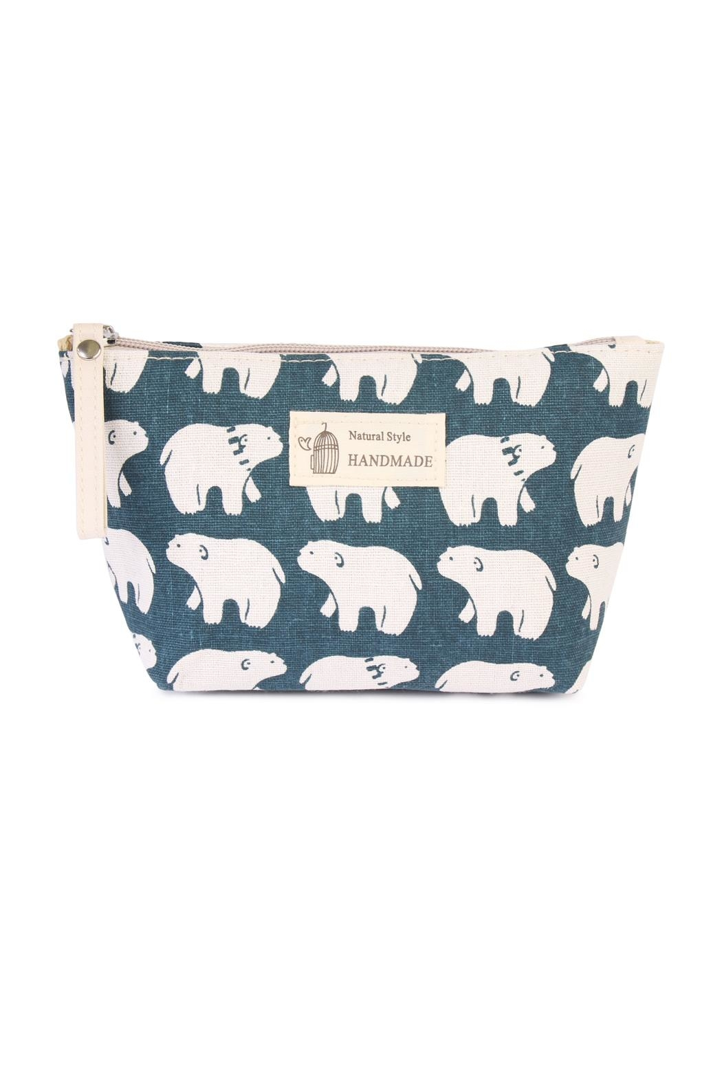 Riah Fashion Polar Bear Print Pouch - Main Image