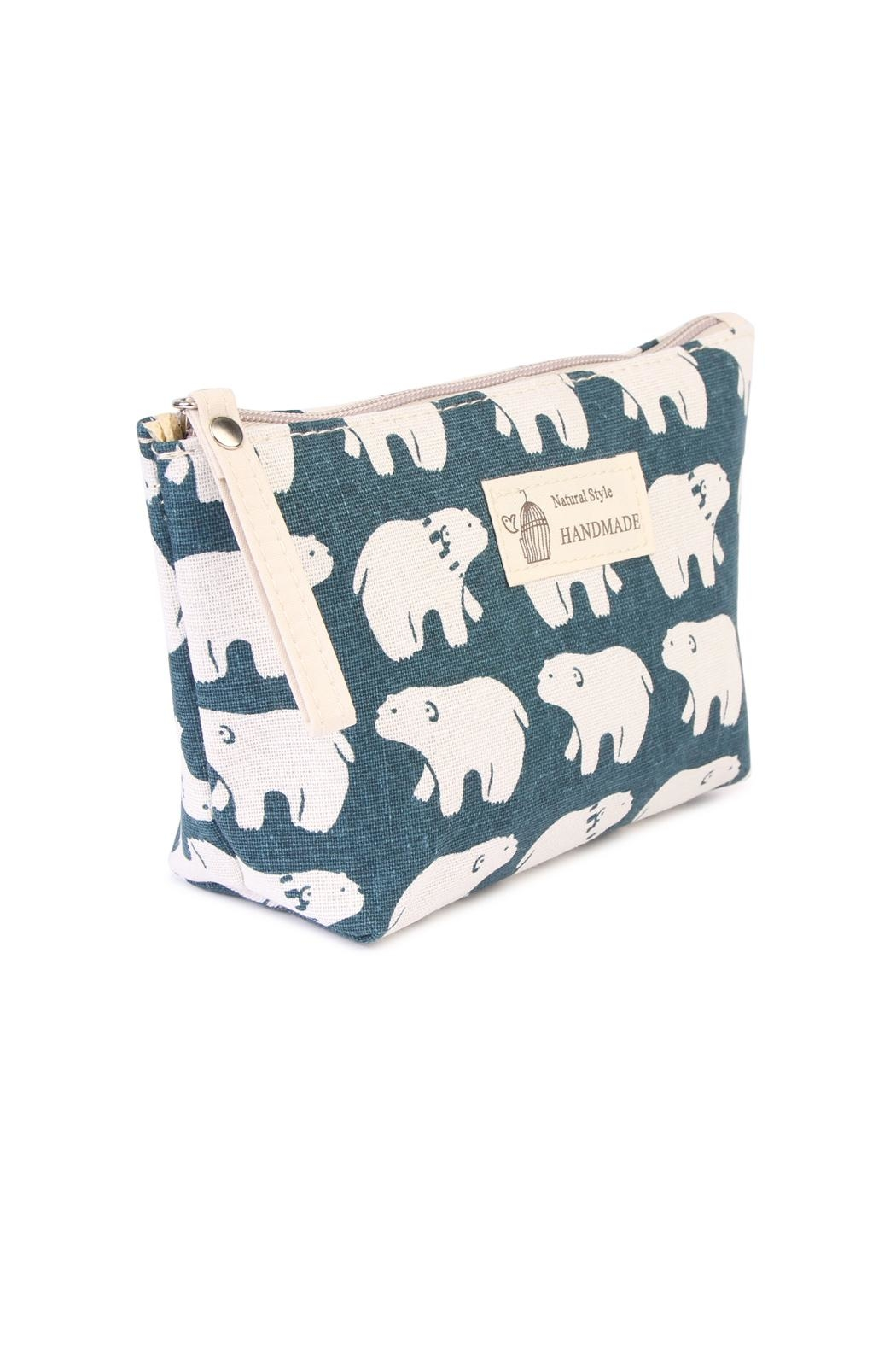 Riah Fashion Polar Bear Print Pouch - Front Full Image