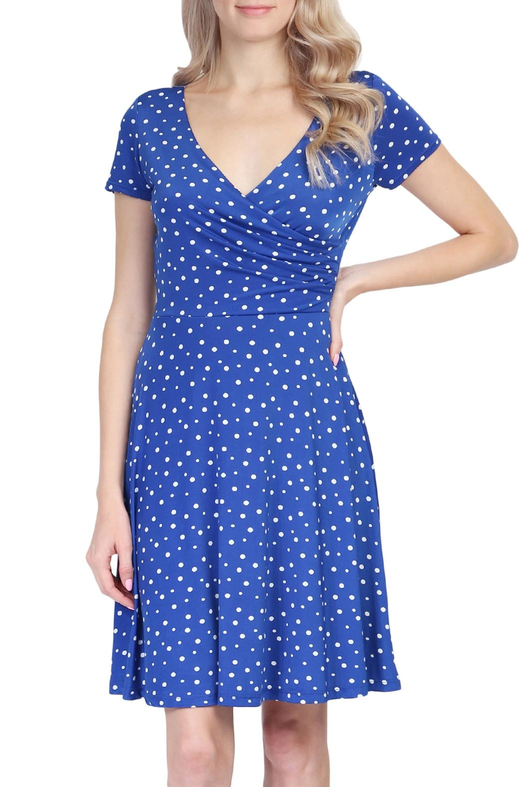 Riah Fashion Polka Dot Dress - Front Cropped Image