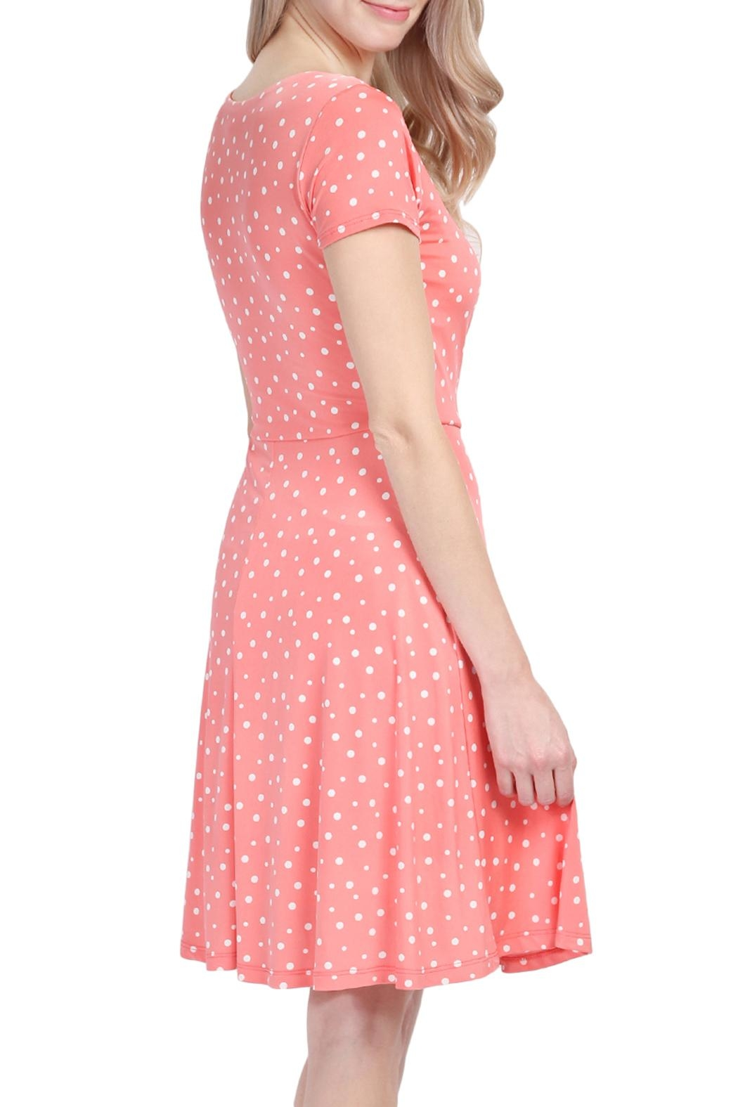 Riah Fashion Polka Dot Dress - Front Full Image