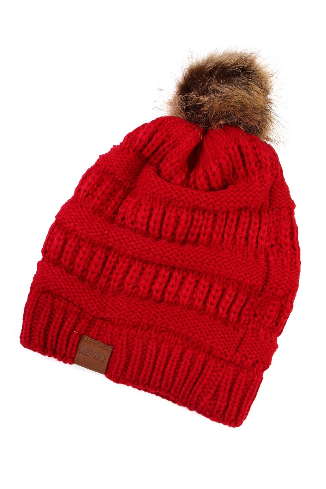 Riah Fashion Pom Knit Beanie - Front Cropped Image