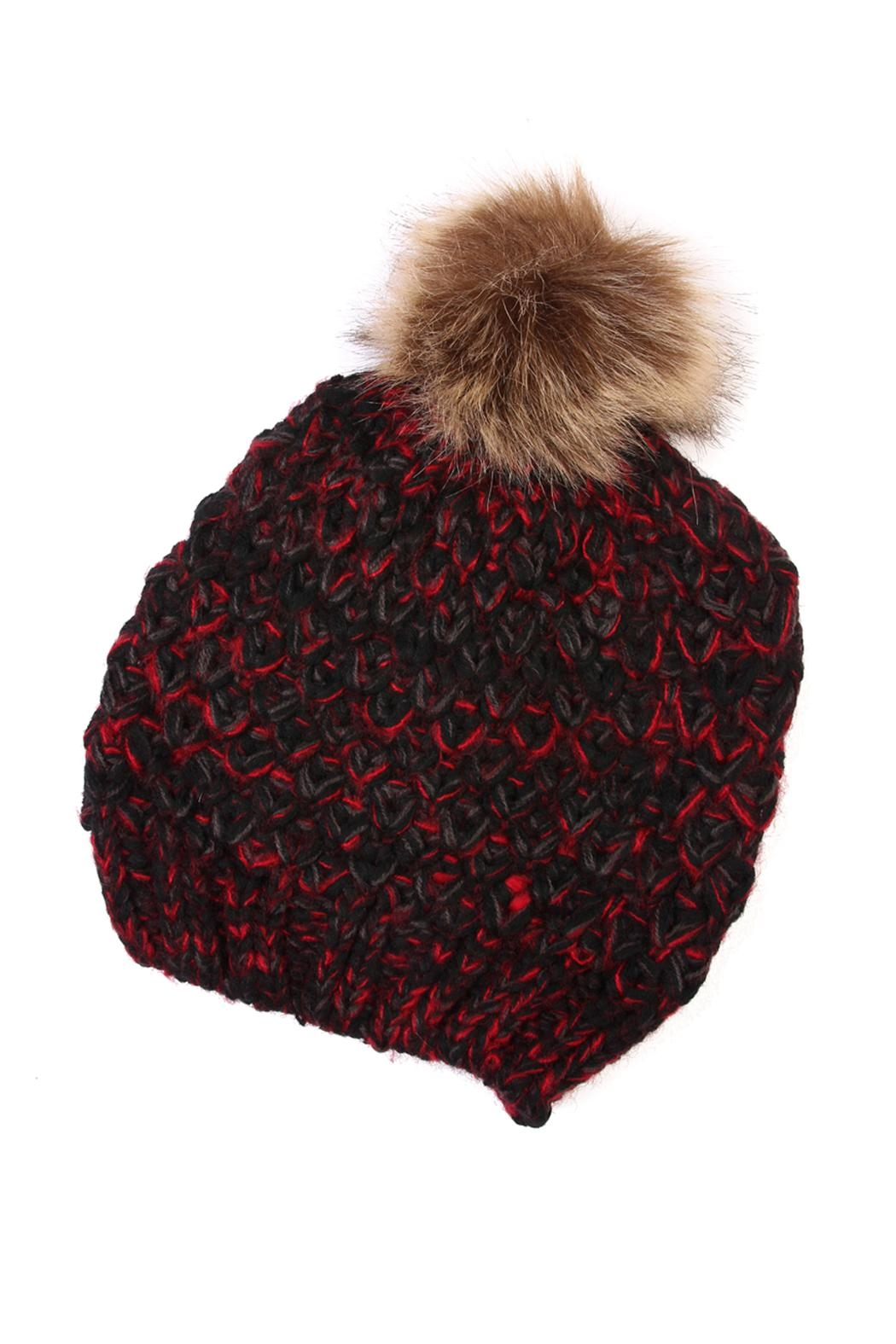 Riah Fashion Pom Knitted Beanie - Front Cropped Image