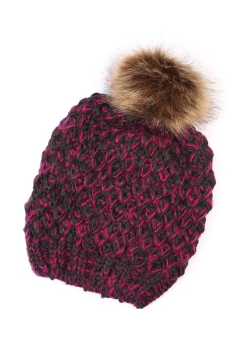 Riah Fashion Pom Knitted Beanie - Main Image