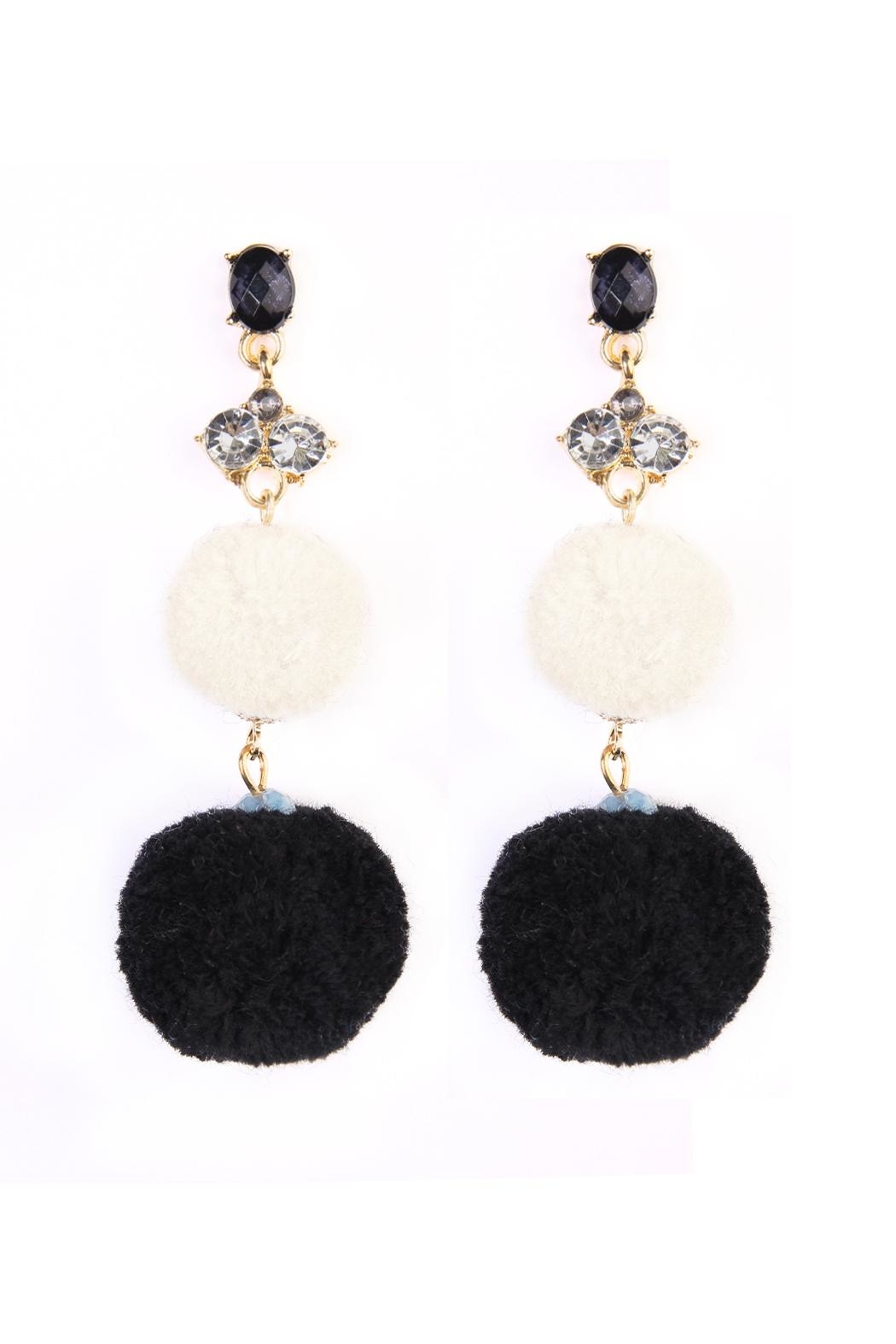 Riah Fashion Pom Pom Dropped Earrings - Front Cropped Image