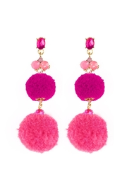 Riah Fashion Pom Pom Dropped Earrings - Product Mini Image