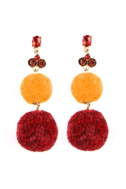 Riah Fashion Pom Pom Dropped Earrings - Front cropped