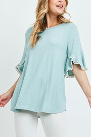 Riah Fashion Pompom-Bell-Sleeves-Brushed-Top - Product Mini Image
