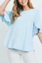 Riah Fashion Pompom-Detail-Bell-Sleeves-Solid-Top - Product Mini Image