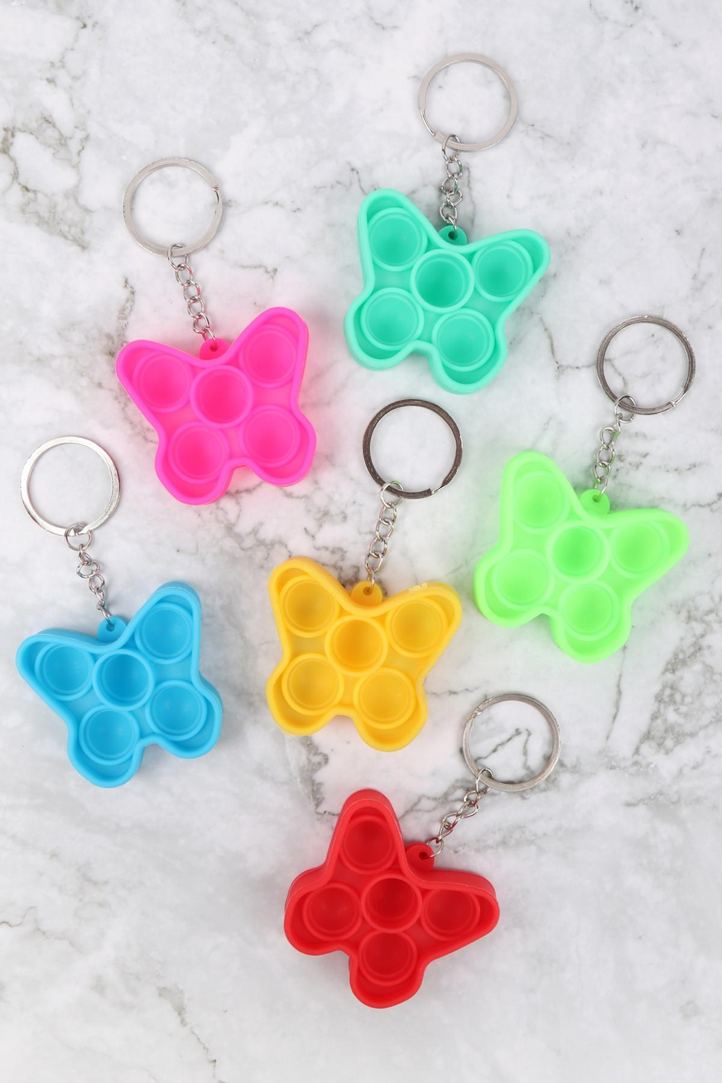 Riah Fashion Pop-Fidget-Sensory-And-Stress-Reliever-Butterfly Multicolor-Toy-Keychain - Front Full Image