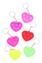 Riah Fashion Pop-Fidget-Sensory-And-Stress-Reliever-Heart-Multicolor-Toy-Keychain - Front cropped