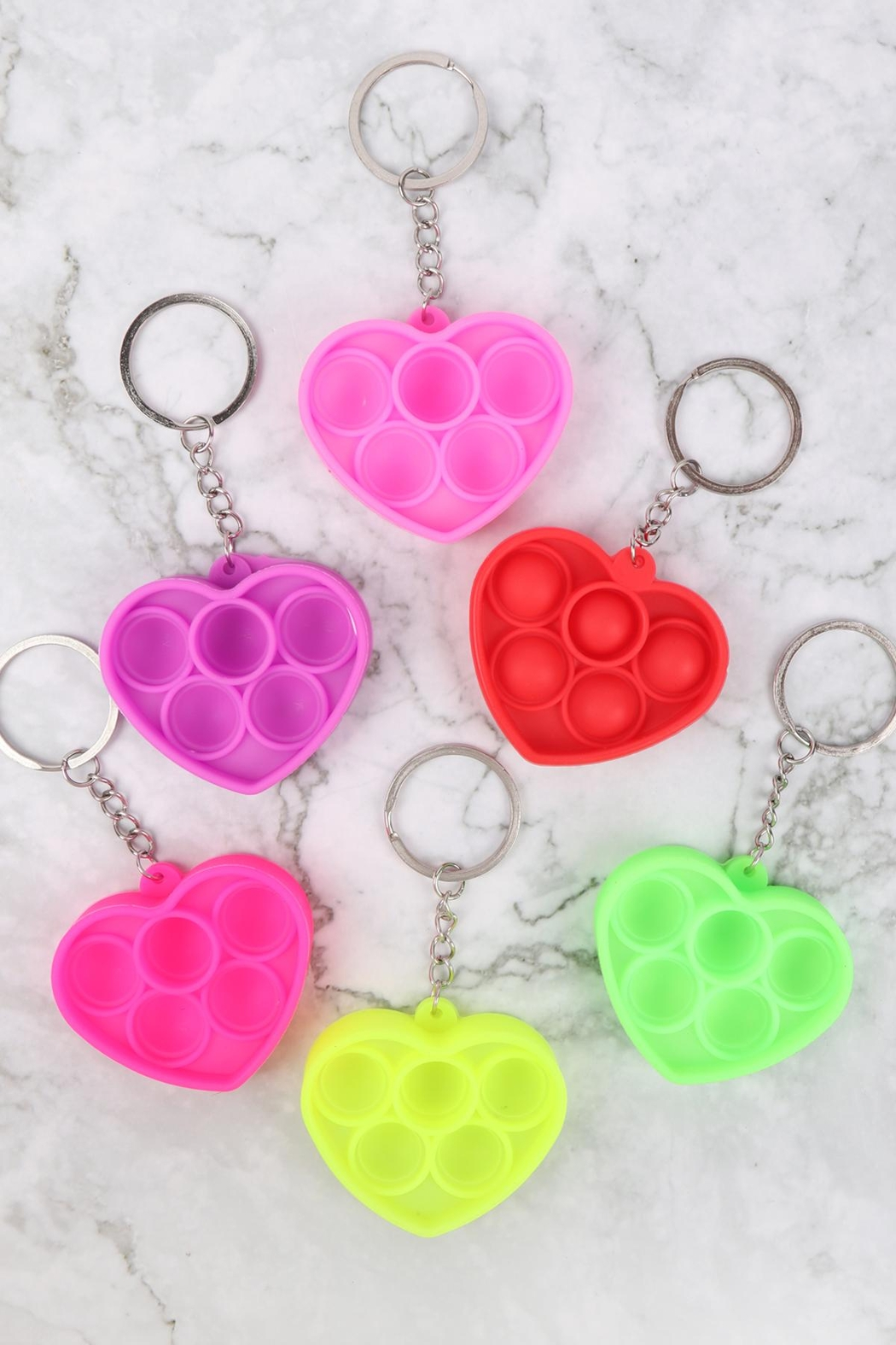 Riah Fashion Pop-Fidget-Sensory-And-Stress-Reliever-Heart-Multicolor-Toy-Keychain - Front Full Image