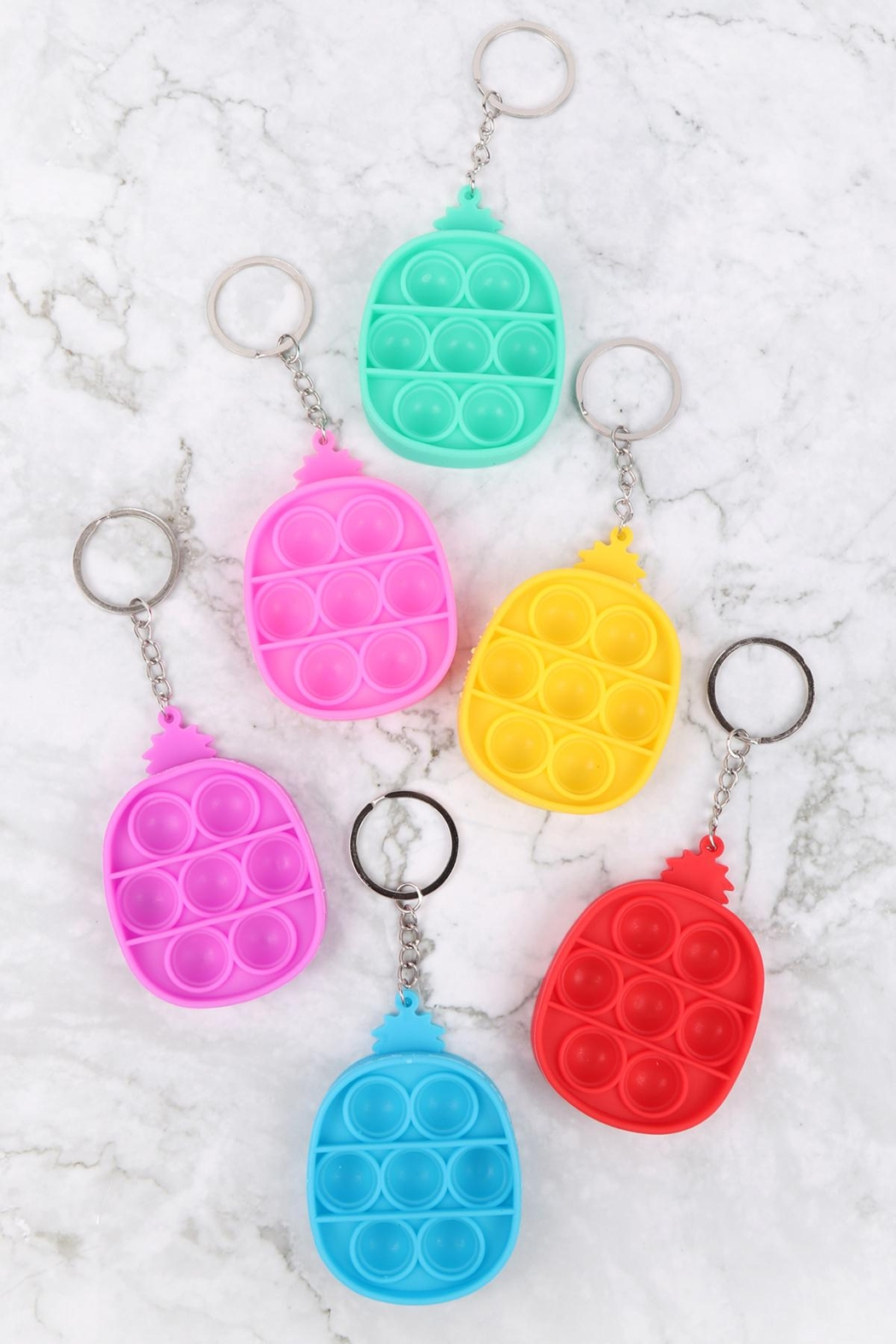Riah Fashion Pop-Fidget-Sensory-And-Stress-Reliever-Pineapple-Multicolor-To-Keychain - Front Full Image