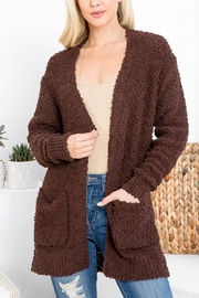 Riah Fashion Popcorn-Sweater-Cardigan-With-Pockets-Americano - Front cropped