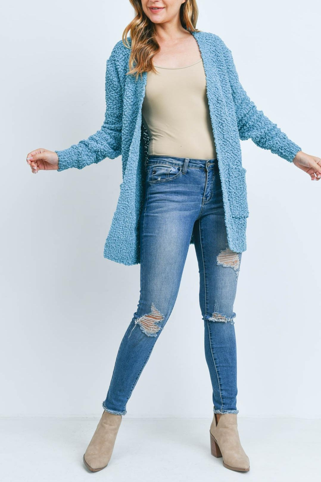 Riah Fashion Popcorn-Sweater-Cardigan-With-Pockets-Americano - Front Cropped Image