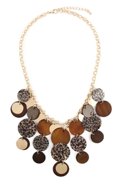 Riah Fashion Printed Disc Statement Necklace - Product Mini Image
