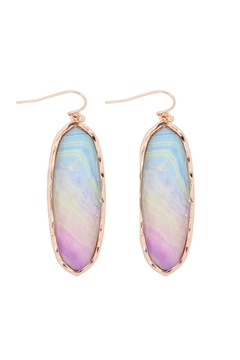 Shoptiques Product: Printed Epoxy Oval Drop Hook Earring