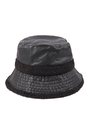 Riah Fashion Pu-Leather-With-Fuzzy-Fleece-Knit-Bucket-Hat - Product Mini Image