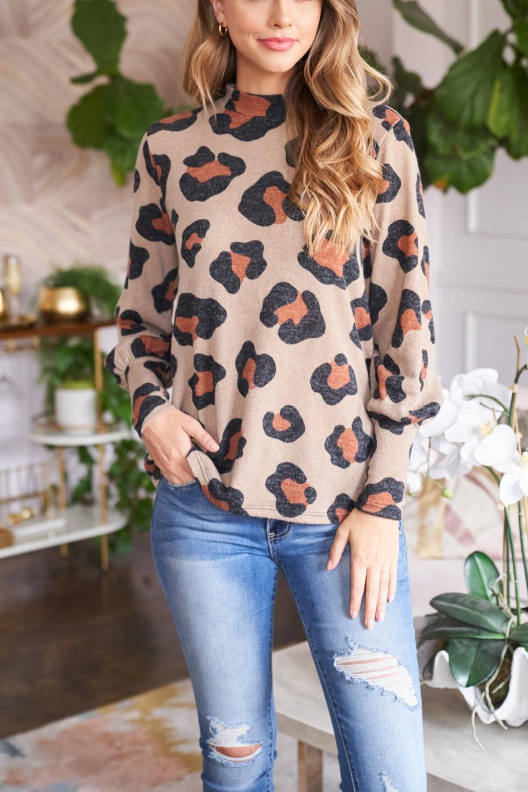 Riah Fashion Puff-Sleeve-High-Neckline-Leopard-Top - Front Full Image