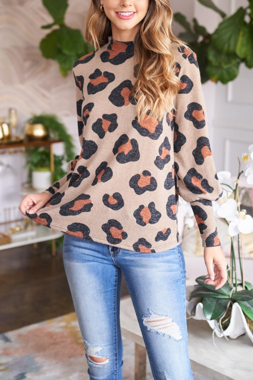 Riah Fashion Puff-Sleeve-High-Neckline-Leopard-Top - Back Cropped Image
