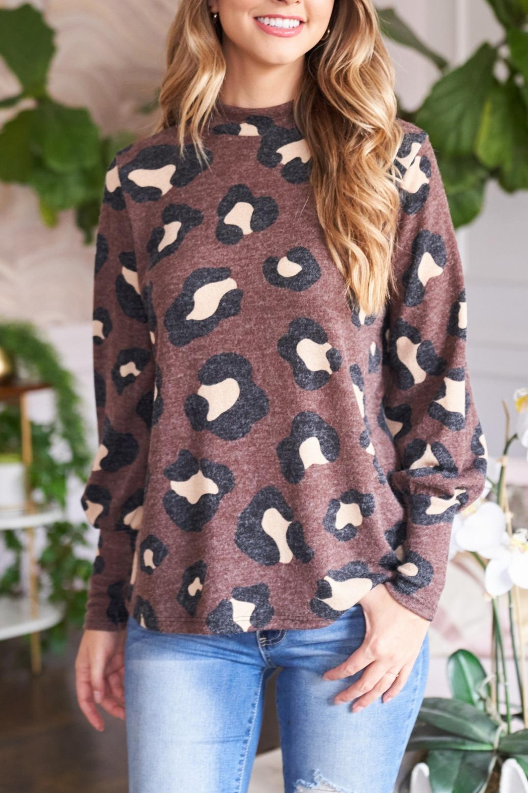 Riah Fashion Puff-Sleeve-High-Neckline-Leopard-Top - Front Cropped Image
