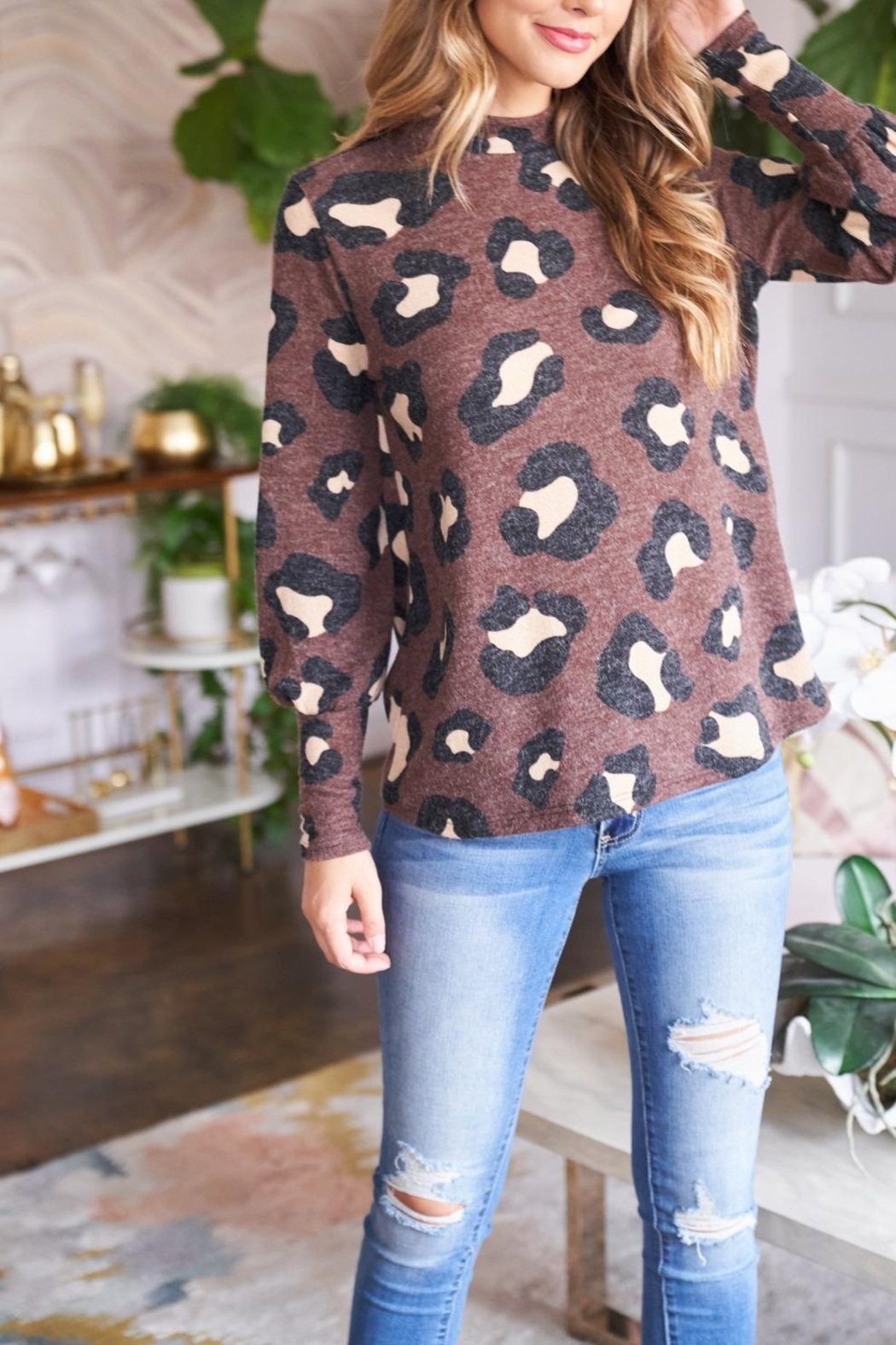 Riah Fashion Puff-Sleeve-High-Neckline-Leopard-Top - Side Cropped Image