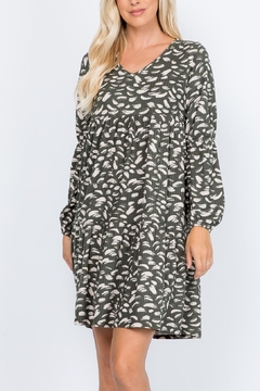 Shoptiques Product: Puff-Sleeve-V-Neck-Feather-Print-Dress