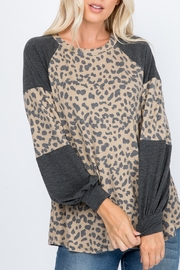 Riah Fashion Puff-Sleeves-Leopard-Contrast-Top - Product Mini Image