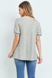 Riah Fashion Puff-Sleeves-V-Neck-Leopard-Top - Front full body