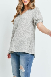 Riah Fashion Puff-Sleeves-V-Neck-Leopard-Top - Back cropped