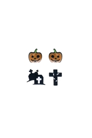 Riah Fashion Pumpkin-Tomb-Cross-Pairs-Stud-Earrings - Front cropped